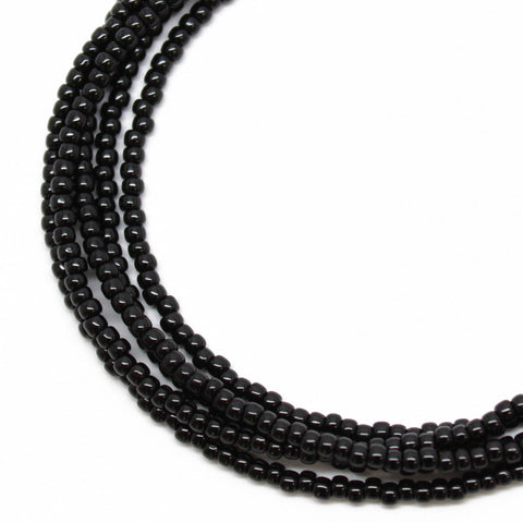 Black Seed Bead Necklace-Shiny Opaque-Single Strand
