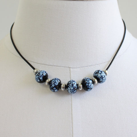 "Black and Sterling Silver Bead Necklace-16"" L"