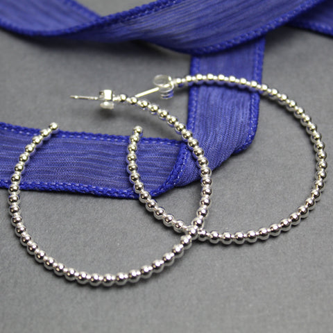 Sterling Silver Ball Wire Hoop Earrings, Large 1.5 Inches