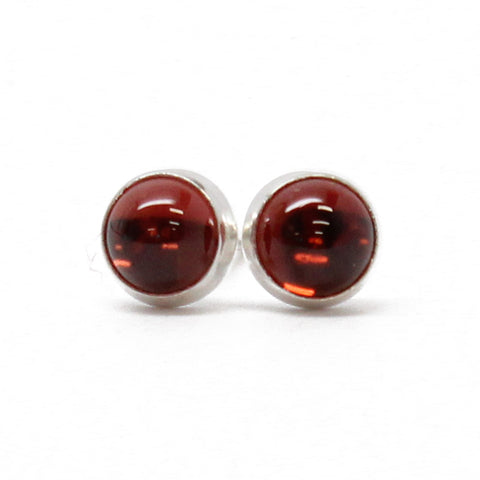 Almandine Garnet Stud Earrings, 4mm in Sterling Silver