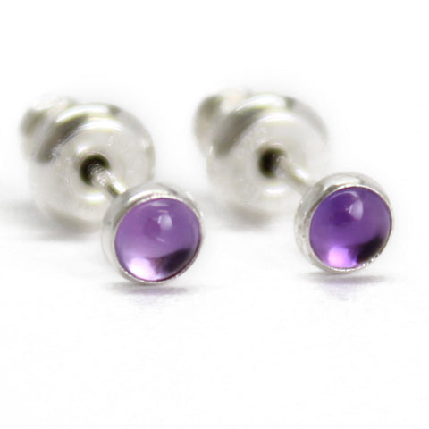 Amethyst Stud Earrings in Sterling Silver, Tiny 3mm