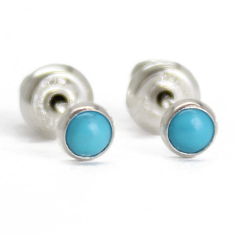 3mm blue turquoise studs