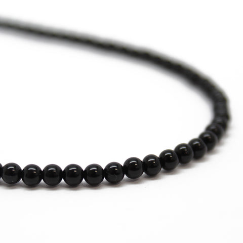 Black Onyx Necklace with Sterling Silver Clasp-3mm