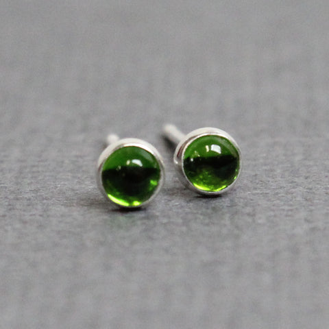 Chrome Diopside Stud Earrings, Tiny 3mm Green Studs