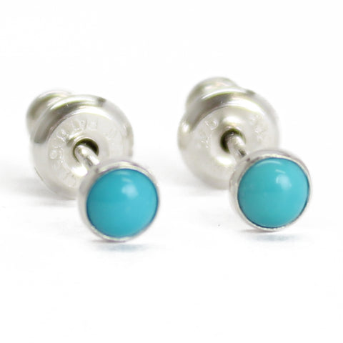 tiny 3mm turquoise stud earrings