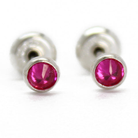 3mm Ruby Stud Earrings in Sterling Silver