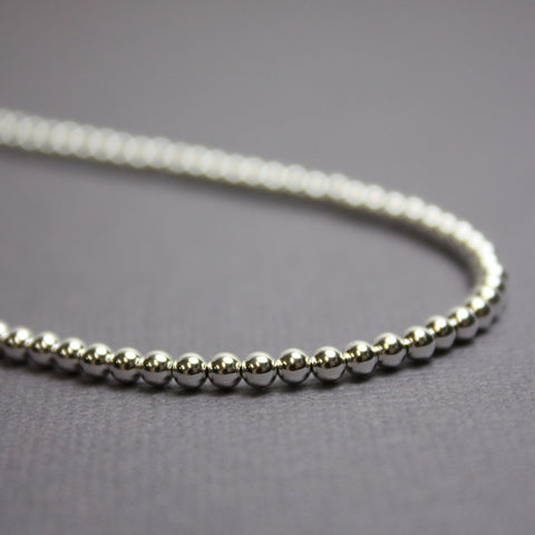 Sterling Silver Bead Necklace-3mm