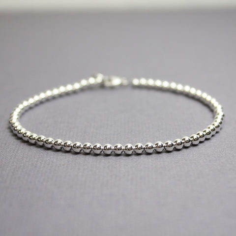 Sterling Silver Bead Bracelet-3mm
