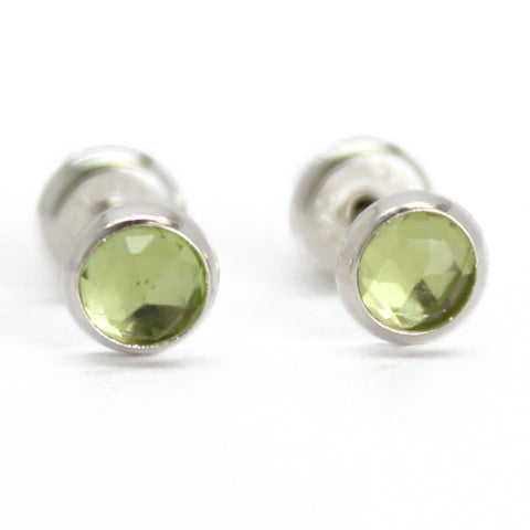 Peridot Stud Earrings in Sterling Silver 4mm
