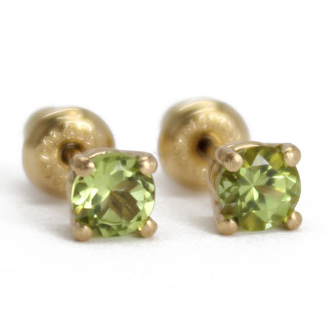 Peridot Studs in 14k Yellow Gold- Small 4mm
