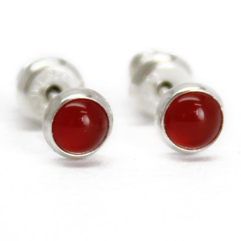 Red Carnelian Stud Earrings in Sterling Silver or Gold Filled~4mm