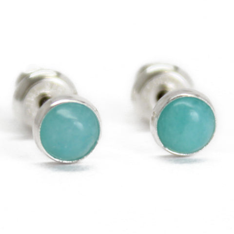 Amazonite Stud Earrings, Small 4mm in Sterling Silver