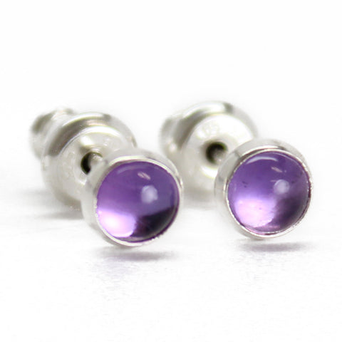 Amethyst Stud Earrings 4mm in Sterling Silver