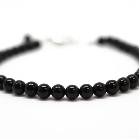 "Black Onyx Bracelet, 4 mm, Sterling Clasp, Adjustable 7"" to 8"""