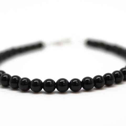 Black Onyx Bracelet, Small 4 mm Black Gemstone Bracelet