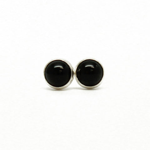 Black Onyx Stud Earrings, Small 4mm in Sterling Silver