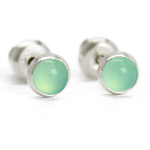 Chrysoprase Stud Earrings in Sterling Silver, 4mm