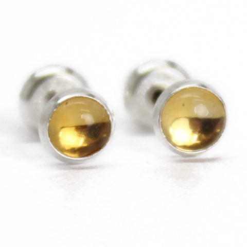 Citrine Stud Earrings-4mm Sterling Silver or Gold Fill