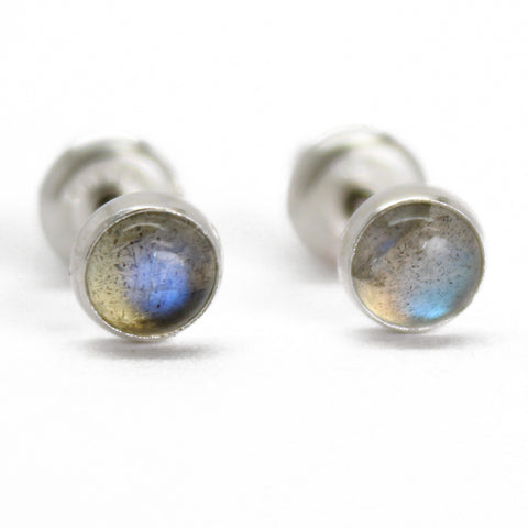 Labradorite Stud Earrings in Sterling Silver or Gold Filled, Small 4mm