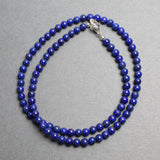 4mm Lapis Lazuli Bead Necklace Strand with Sterling Silver Clasp