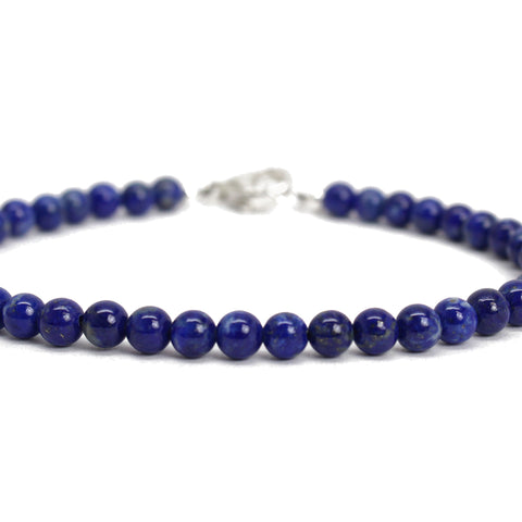Lapis Lazuli Bracelet, 4mm with Sterling Silver or Gold Filled Clasp