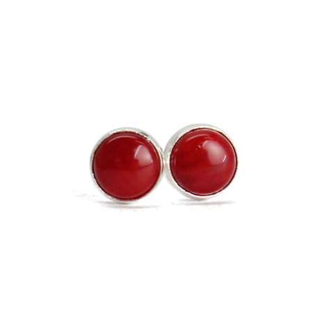 4mm Red Bamboo Coral Stud Earrings in Sterling Silver or Gold Fill,