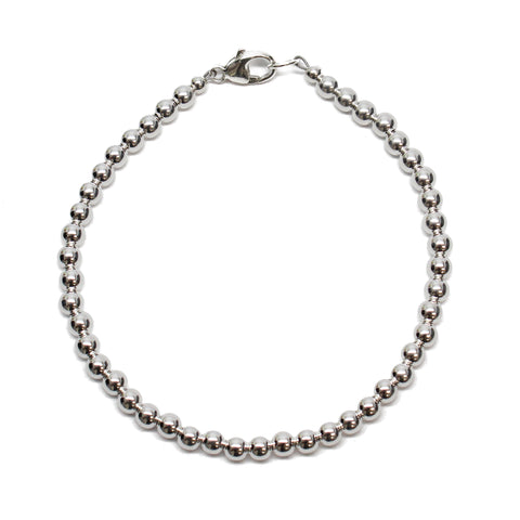 4mm Sterling Silver Bead Bracelet