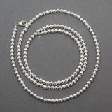 "26"" 4mm Sterling Silver Bead Necklace Strand"