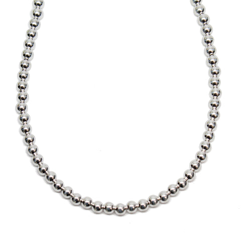 4mm Sterling Silver Bead Necklace Strand