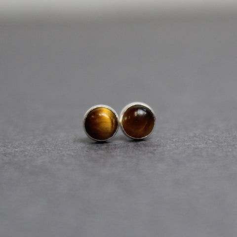 Tigers Eye Stud Earrings, Small 4mm in Sterling Silver or 14k Gold FIlled