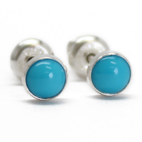 Turquoise Stud Earrings, Small 4mm in Sterling Silver
