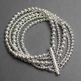 Sterling Silver Bead Bracelet, Multi Strand with Slide Clasp 7.5 Inches