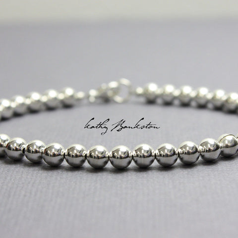 Sterling Silver Bead Bracelet-5mm