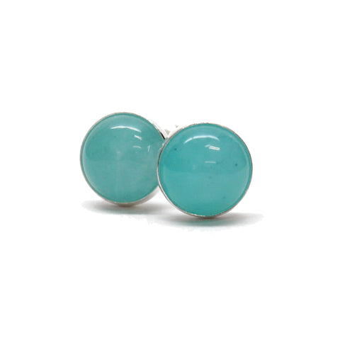 Amazonite Stud Earrings 6mm in Sterling Silver