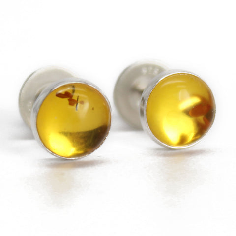 6mm Natural Yellow Amber Studs