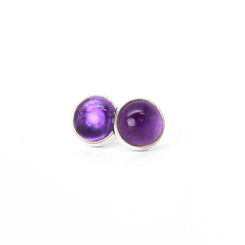 Amethyst Stud Earrings 6mm in Sterling Silver