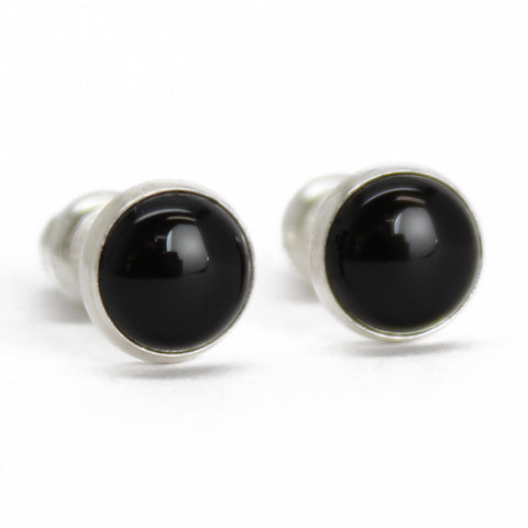 Black Onyx Stud Earrings, 6mm in Sterling Silver or Gold Fill