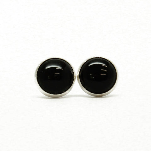 Black Onyx Stud Earrings-6mm in Sterling Silver