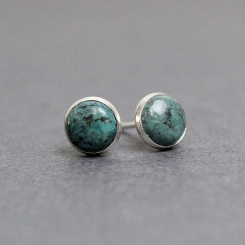 Turquoise Stud Earrings with Matrix in Sterling Silver, Small 6mm Blue Green Studs