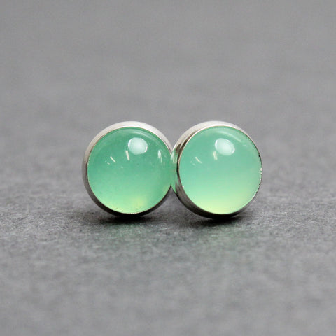 Chrysoprase Stud Earrings in Sterling Silver, 6mm