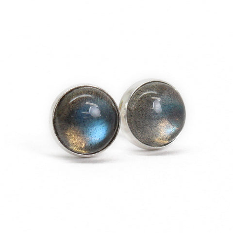 Labradorite Stud Earrings, 6mm Gray Studs
