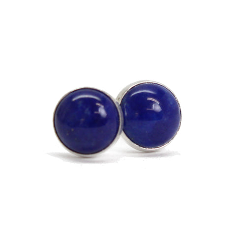 Lapis Stud Earrings, 6mm Small Dark Blue Studs in Sterling Silver or Gold Fill