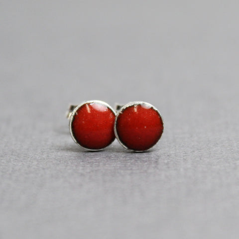 Red Enamel Stud Earrings, Small 6mm Sterling Silver Studs