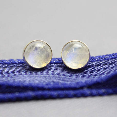 Rainbow Moonstone Stud Earrings-6mm all Sterling Silver