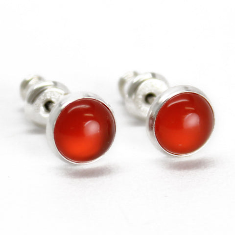 Red Carnelian Stud Earrings in Sterling Silver-6mm