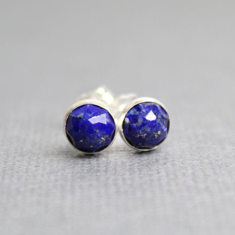 Lapis Stud Earrings, 6mm Small Dark Blue Studs in Sterling Silver