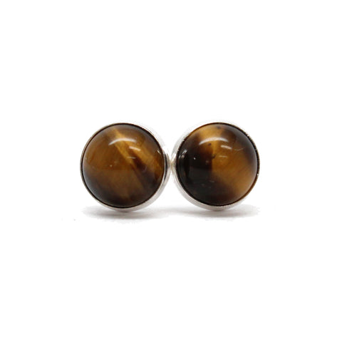 Tigers Eye Stud Earrings in Sterling Silver or Gold Fill, 6mm