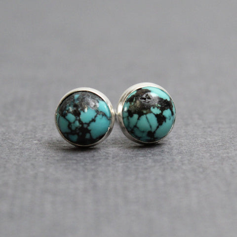 Turquoise Stud Earrings with Matrix in Sterling Silver, Small 6mm