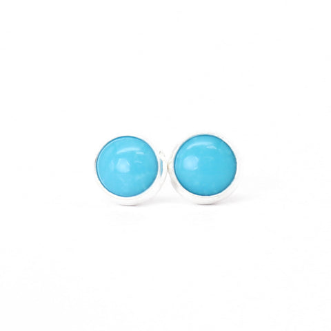 Turquoise Stud Earrings- 6mm-Blue-in all Sterling Silver