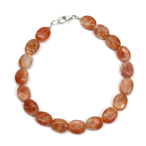 8mm Sunstone Bracelet with Sterling Silver Clasp